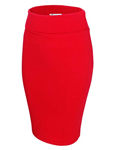 TAM WARE Womens Casual Convertible Knee Length Pencil Skirt TWCWS02-RED-US -