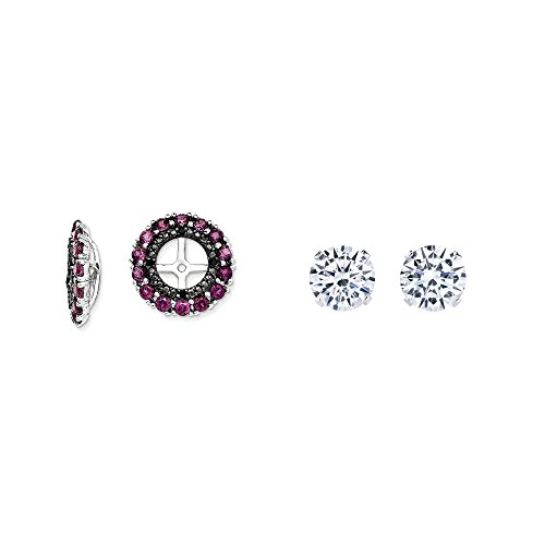 Sterling Silver Simulated Rhodolite, Simulated Garnet, Black Simulated Sapphire Earring Jacket + 2mm CZ Studs by Mireval