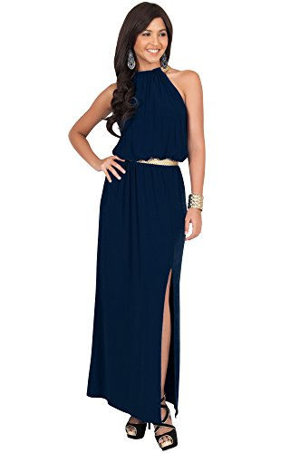 - KOH KOH Womens Long Halter Neck Sleeveless Sexy Summer Slit Split Belt Wedding Guest Bridesmaid Grecian Sun Sundress Gown Gowns Maxi Dress Dresses for Women, Navy Blue M 8-10
