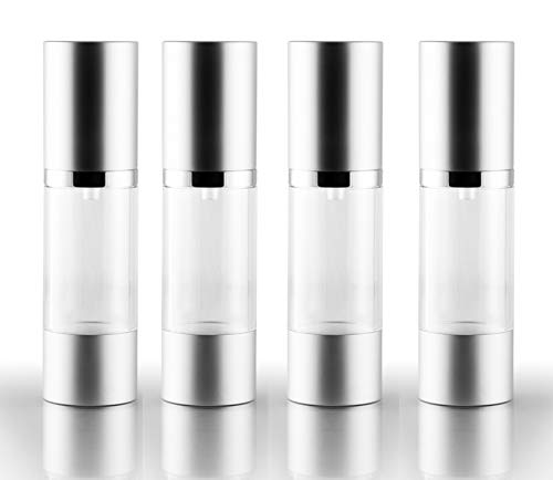 Airless Pump Bottle Refillable Travel Containers 30 ml 1 oz. Clear, 4-Pack