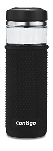 Contigo Glass Water Bottle with a Quick-Twist Lid, 20 oz, Licorice