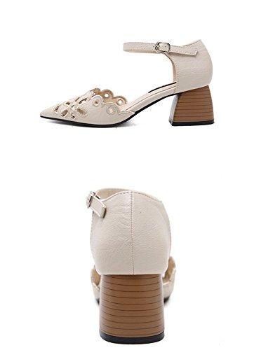 Sommer Beige Tipp Geschlitzten Sandalen Shoes Haspe Ausgesetzt Damen Dick Mode High Sandalen Schuhe Heeled Heel WHL High Mit YqTIF