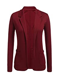 JANYN Women's Work Office Wear Open Front Jacket Solid Color Blazer with Pocket