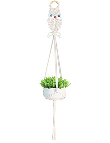 Macrame Plant Hangers Owl Pattern Flower Pot Hanging Holder, for Small Pot Under 6 inches ()