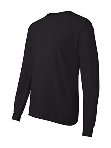 Hanes TAGLESS 6.1 Long Sleeve T-Shirt, Black, SM]()