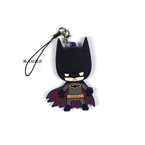 PLAYER-C 7Styles Batman Batgirl Harleen Quinzel Robin Dick Grayson Jason Todd Action Figure Anime Model Rubber Keychain Pendant Gifts 6Cm ()