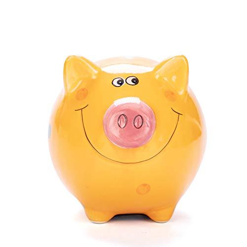 (JYPHM Ceramic Piggy Bank for Kids Piggy Bank Boys and Girls Unique Gift Nursery Décor Keepsake Porcelain Piggy Bank Orange Small size(5x5x4inch))