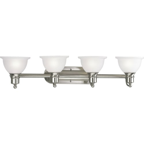 Progress Lighting P3164-09 4-Light Wall Bracket with White Etched Glass, Brushed Nickel by Progress Lighting