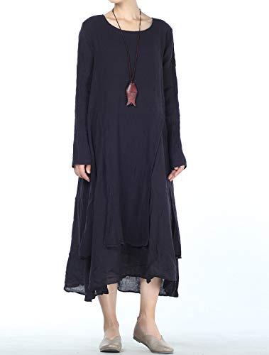 Style 3 Fall Cotton Women's Dress dark Spring Layers Sleeve Long Purple Mordenmiss xz8E6Tnqq