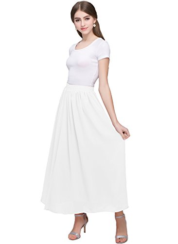 (Kileyi Women's Long A Line High Elastic Waist Swing Chiffon Pleated Midi Skirt White L)