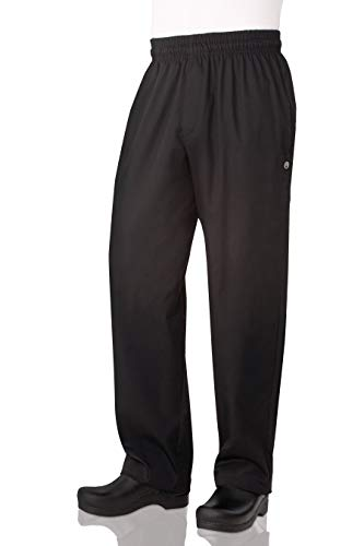 Chef Works Men's Essential Baggy Zip-Fly Chef Pants, Black, Small