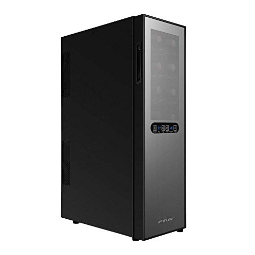 BESTEK 16 Bottle Dual Zone Thermoelectric Red & White Wine Cooler/Chiller, Counter Top Wine Cellar w/Sculpted Chrome Shelves, Double-Layer Tempered Glass Door (ETL Listed)