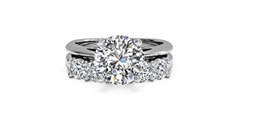 Solitaire 2.52ct D/VVS Round Brilliant Cut Diamond 10k White Gold Wedding Bridal Ring Band Set,All US Size 4 to 12 available (Diamond Wedding Rings White Gold)