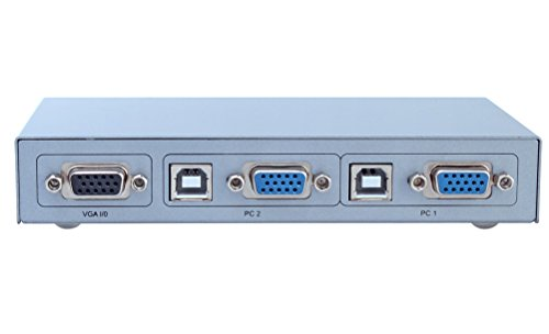 DTECH 2 Port VGA Switch with USB 2.0 and PS2 KVM Switcher (Control 2 PCs with just one Keyboard, Mouse, Monitor ) Supports Widescreen Display and up to 2048x1536 Resolution by DTech (Image #2)
