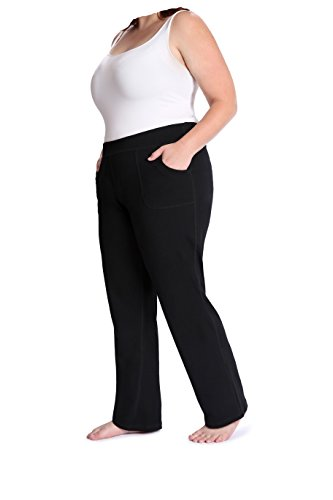 the buti-bag company Plus Size Yoga Pants with Front Pockets, Generously Oversized, Thick Cotton Jersey, 3X/4X (Size 24-26) Black