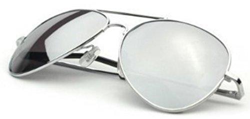 TronStore Premium Silver Mirrored Classic Teardrop Aviator Air Force Pilot Metal Frame - Teardrop Frame
