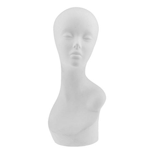 SM SunniMix PVC Long Neck Female Mannequin Head Bust Hat Wig Jewelry Display Model Black - #10