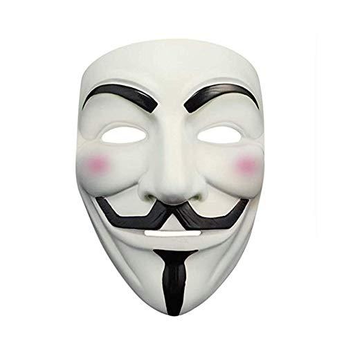 V For Vendetta Girl Costume (Phantom K Adult/Teen White V Vendetta Face Mask,for Costume Party,Masquerade Ball with Elastic)