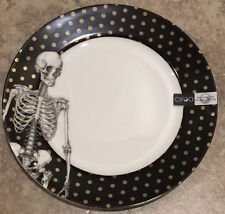 Ciroa Halloween Skeleton Scary Salad Plates Set of 2 Fine Bone China NEW 8