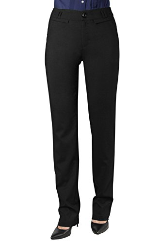 Women's Relaxed Straight Leg Stretch Casual Pants (M, BLACK)