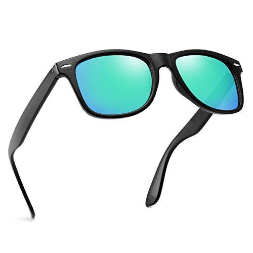 Polarized Sunglasses For Men Women Retro TR90 Frame Square Shades Vintage BRAND DESIGNER Classic Sun Glasses (Polarized green ()