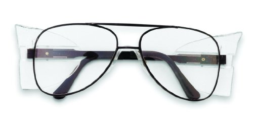 Crews 62110 Engineer Aviator Shape 58-mm Safety Glasses with Black Frame and Clear Lens, 1-Pair