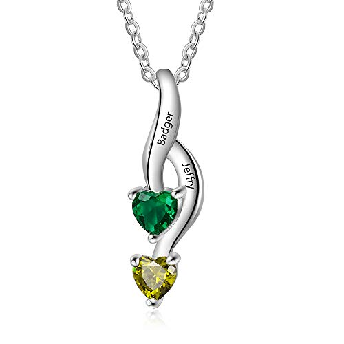 Love Jewelry Personalized 2 Heart Simulated Birthstone Mothers Pendant Necklace with 2 Names Family Pendants for Women