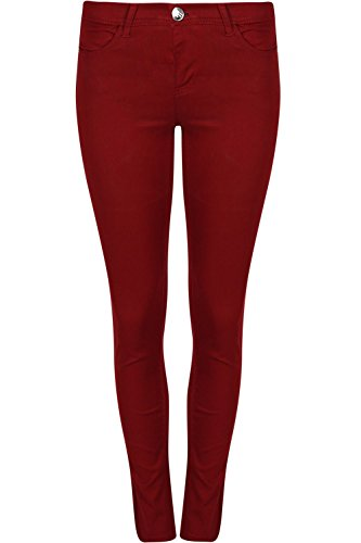 Stretchy Ladies Skinny Oops Star Womens Trousers Plain Slim Pocket Jeans Wine Outlet Pants Fit Denim Fashion qYz1Pw