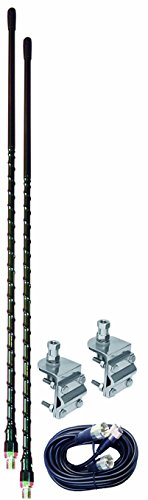 D - 2 FOOT BLACK DUAL CB ANTENNA KIT WITH 3-WAY SO239 MIRROR MOUNTS & 9' COAX CABLE & PL259 CONNECTORS ()