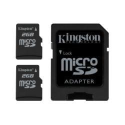 Flash Card Twin Pack - Kingston SDC/2GB-2P1A 2GB MicroSD Flash Card - Twin Pack One Adapter, 2 Piece (Black)