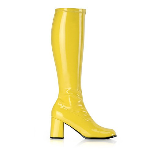 Funtasma by Pleaser Women's Gogo-300 Boot,Yellow Stretch Patent,8 (Blue Go Go Boots)