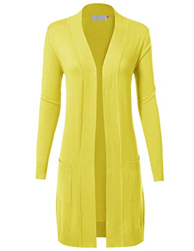 - MAYSIX APPAREL Womens Long Sleeve Long Line Knit Sweater Open Front Cardigan W/Pocket LEMONYELLOW L