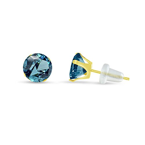 Solid Yellow Simulated Birthstone Earrings product image