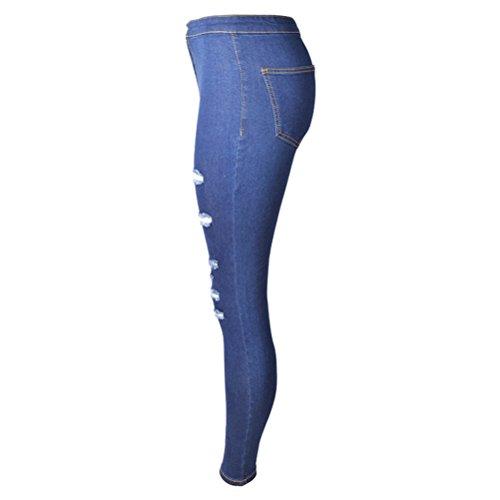 Stretchy Jeans Pants Jean Cut Zhuhaitf Fit amp; Distressed Denim Slim Blue Womens Mode Skinny Dark Ladies Ripped Joli Hole 4pPqHwC