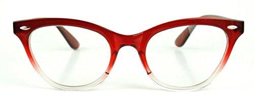 Cat Eye Wayfarer Style Gradient Two Tone Plastic Frame Women Eyeglasses Glasses (Red Clear, - Frames Red Eyeglass Plastic