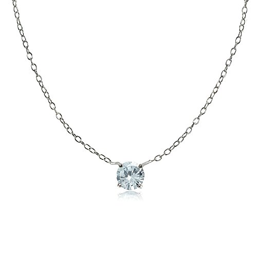 Ice Gems Sterling Silver Small Dainty Round Aquamarine Choker Necklace