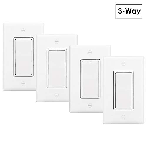[4 Pack] BESTTEN 3-Way Decor Light Switch Interrupter for Light and Fan, Wall Plate Included, 15A, 120/277V, Grounding, Rocker Paddle ON/OFF, Commercial Grade, UL Listed, White ()