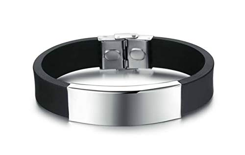 Gnzoe Men Silicone Bangle Bracelet Blank Tag Smooth Surface Black 22 cm