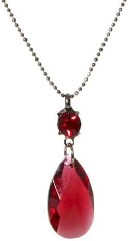 Collier goutte de poire cristal Swarovski en rouge/poire cristal ...