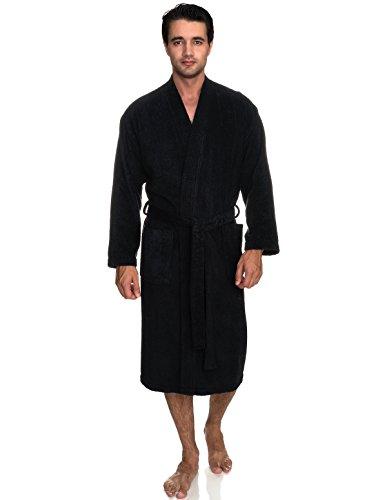 TowelSelections Men's Robe, Turkish Cotton Terry Kimono Bathrobe Large/X-Large Phantom Black