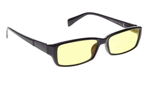 Night Driving Glasses with Yellow Polycarbonate Double Sided Anti-reflective Coating - Black Frame Color with Spring Hinges - 53-15-138 Eye - Glasses Vs