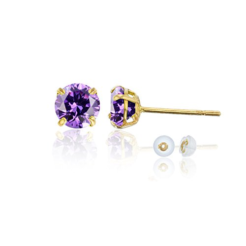14K Yellow Gold 6mm Round Amethyst Stud Earring