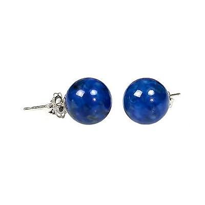 Nice Trustmark 925 Sterling Silver 10mm Natural Blue Lapis Lazuli Ball Stud Post Earrings supplier