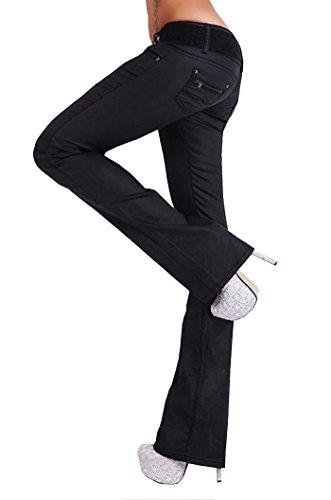 Label Taille by Trendstylez Femme Brillant Jean 34 EU Bootcut Stretch Noir pour 36 Coupe rvrq1wH