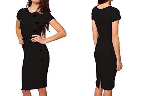 Original Single Wind Nail Button Fashion Bag Hip Slim Dress,Black,L
