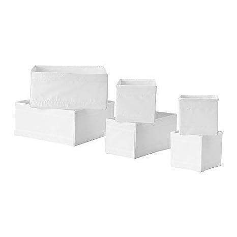 Ikea Ensemble De 6 Boîtes De Rangement Skubb En 3 Tailles Différentes Blanc