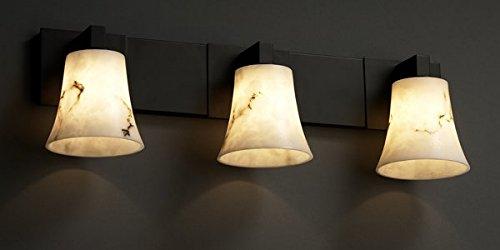 Justice Design Group LumenAria 3-Light Bath Bar - Matte Black Finish with Faux Alabaster Resin ()
