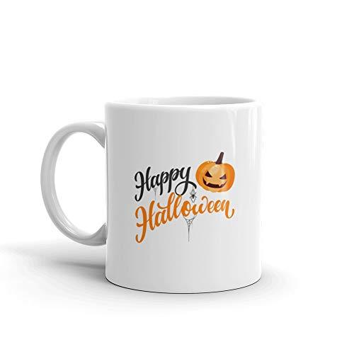 Happy Halloween Hand Written Text Funny Mugs 11 Oz White Ceramic -