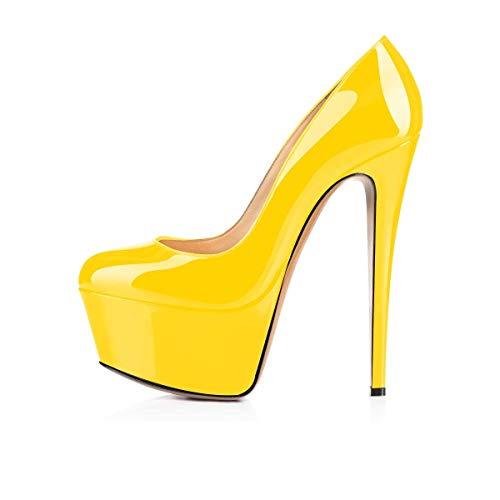 Doppia Yellow Scarpe Pan Caitlin Su Donna Punta Nozze Tacco Festa Scivolare Pompe Piattaforma Stiletto Col Chiusa zCBWB5anc