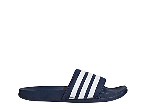 adidas Women's Adilette CF+ Stripes W Famous Slide Sandal, White/Collegiate Navy, 8 M US